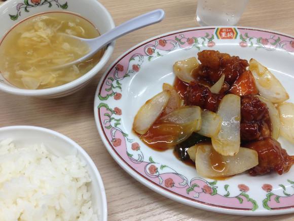 酢豚とライスと玉子スープ